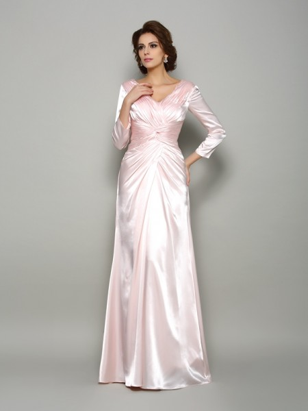 A-Line Long Sleeves V-neck Silk like Satin Floor-Length Ruched Mother of the Groom Dress