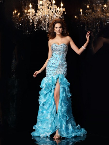 Mermaid Sweetheart Organza Beading Asymmetrical Dresses