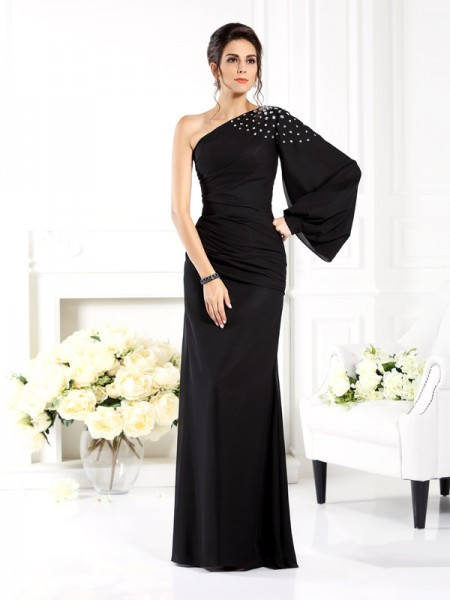 Sheath One-Shoulder Long Sleeves Beading Floor-Length Chiffon Prom Dress
