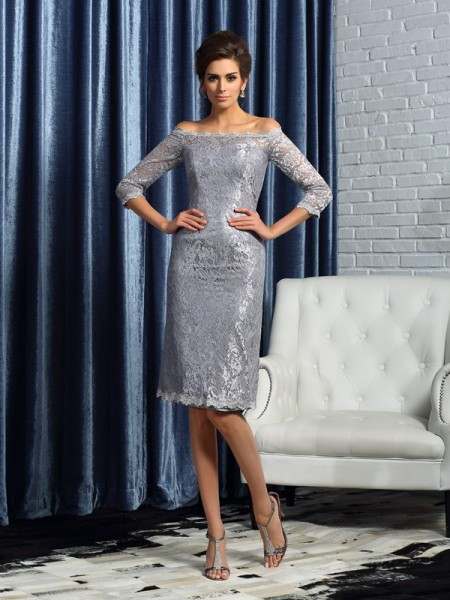 Sheath Off-the-Shoulder Satin 1/2 Sleeves Knee-Length Lace Mother of the Groom Dress