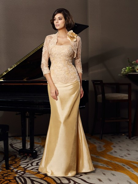 Mermaid Sweetheart Floor-Length Taffeta Lace Mother of the Groom Dress