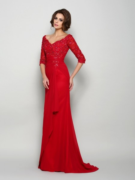 A-Line 1/2 Sleeves V-neck Chiffon Sweep/Brush Train Beading Mother of the Groom Dress