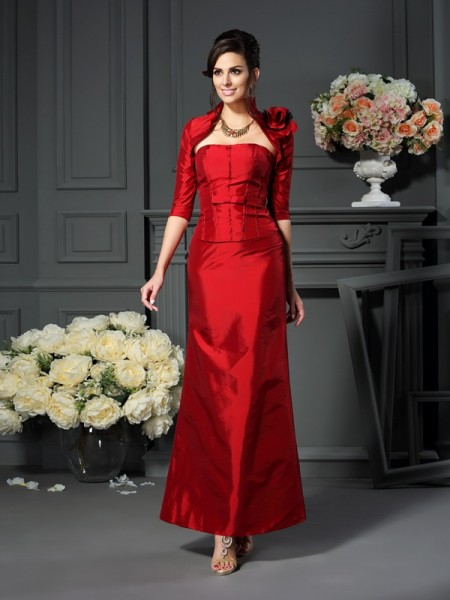 A-Line Strapless Hand-Made Flower Ankle-Length Taffeta Mother of the Groom Dress