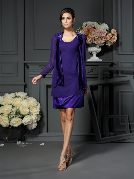 A-Line Square Chiffon Beading Knee-length Mother of the Groom Dress