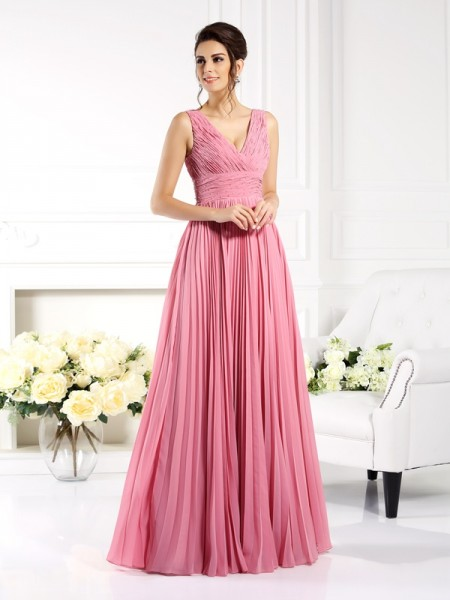 A-Line Sweetheart Pleats Floor-Length Chiffon Prom Dress