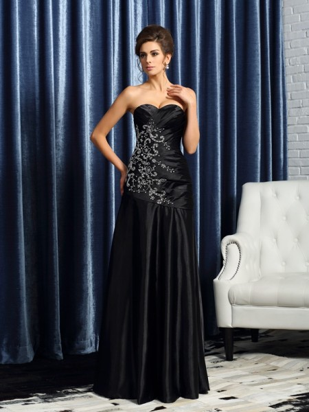 A-Line Sweetheart Satin Floor-Length Beading Applique Mother of the Groom Dress