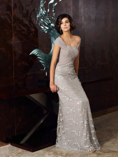 A-Line Off-the-Shoulder Chiffon Floor-Length Applique Formal Dress