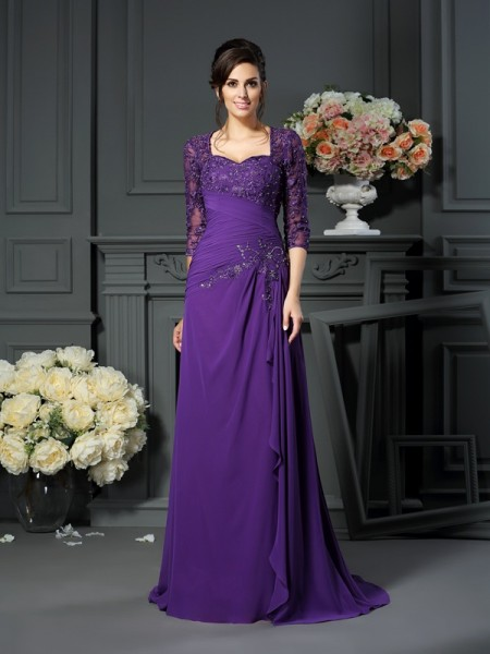 A-Line Sweetheart 1/2 Sleeves Floor-Length Applique Chiffon Mother of the Groom Dress