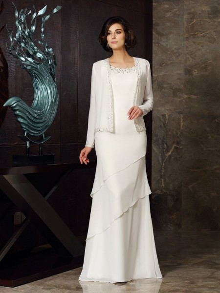 Sheath Scoop Chiffon Floor-Length Beading Mother of the Groom Dress