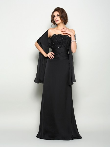 A-Line Strapless Beading Sweep/Brush Train Chiffon Mother of the Groom Dress