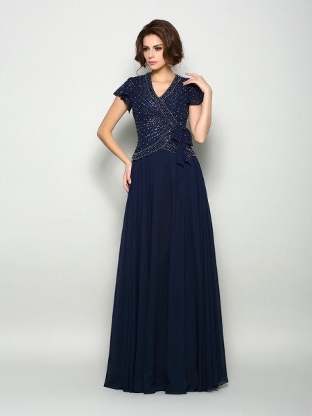 A-Line Short Sleeves V-neck Chiffon Beading Floor-Length Mother of the Groom Dress