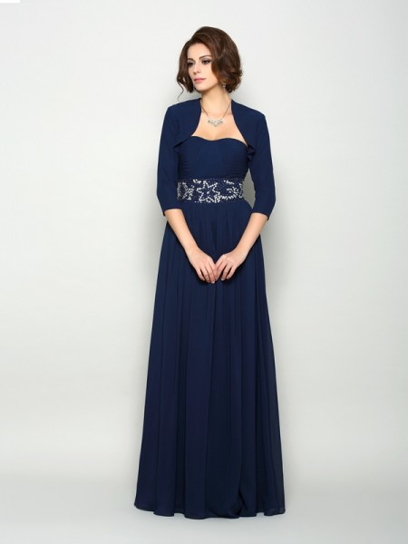 A-Line Chiffon Beading Sweetheart Floor-Length Mother of the Groom Dress