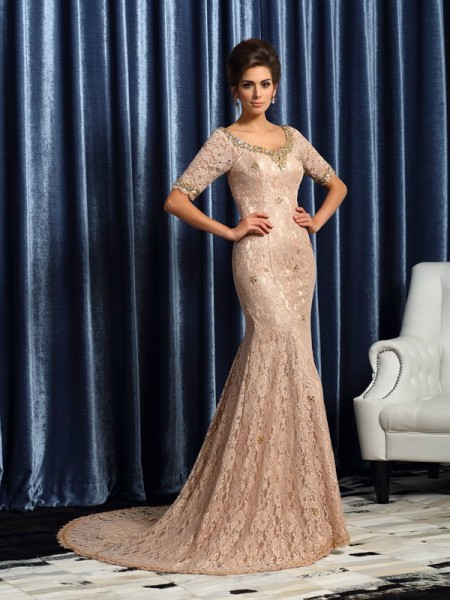 Mermaid V-neck Short Sleeves Elastic Woven Satin Lace Court Train Mother of the Groom Dress