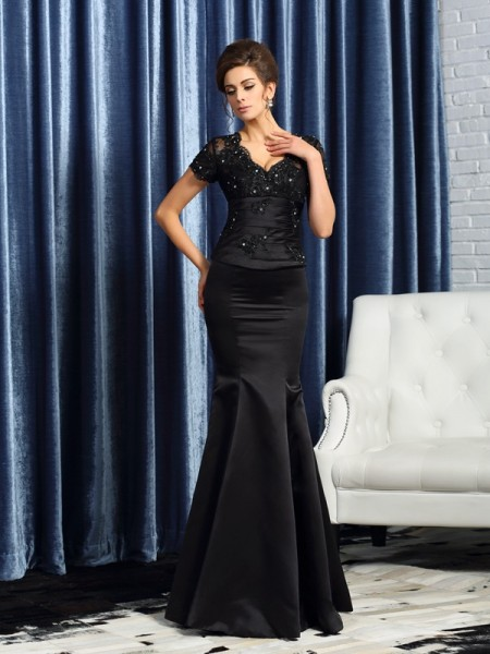 Mermaid V-neck Short Sleeves Satin Applique Floor-Length Mother of the Groom Dress