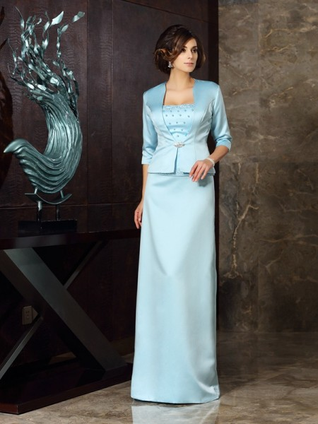 Sheath Satin Floor-Length Strapless Mother of the Groom Dress
