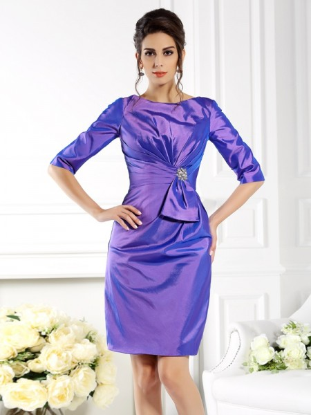 Sheath Bateau 1/2 Sleeves Knee-Length Taffeta Mother of the Groom Dress