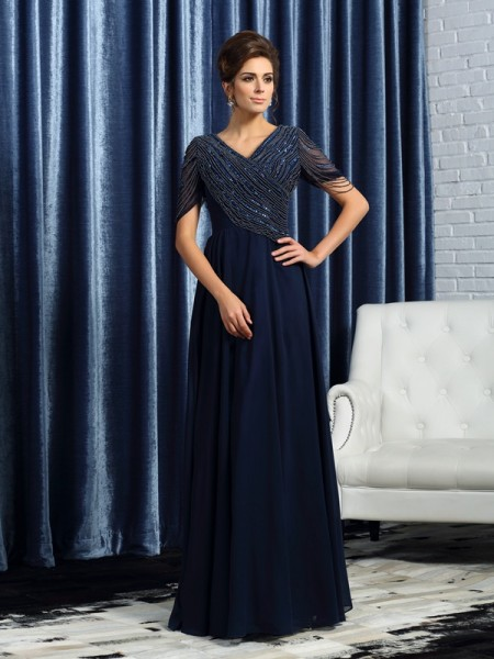 A-Line V-neck Short Sleeves Floor-Length Chiffon Mother of the Groom Dress