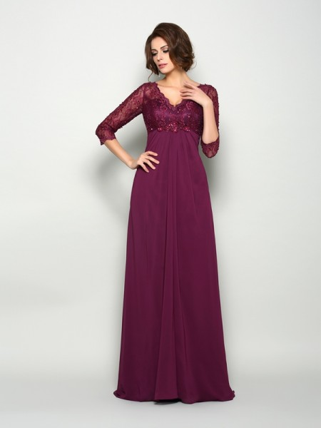 A-Line 3/4 Sleeves V-neck Sweep/Brush Train Chiffon Beading Mother of the Bride Gown