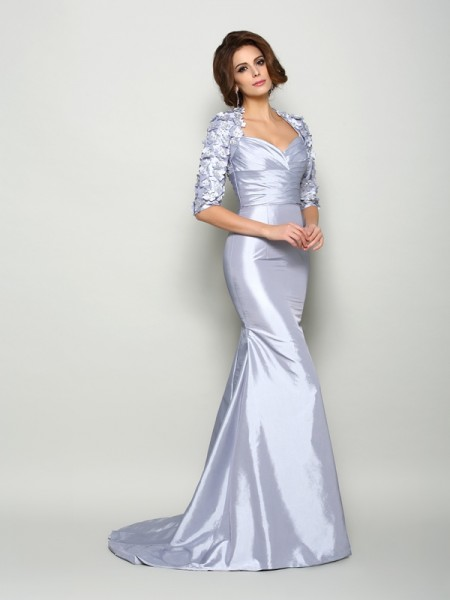 Mermaid Sweetheart 1/2 Sleeves Taffeta Applique Sweep/Brush Train Mother of the Bride Gown
