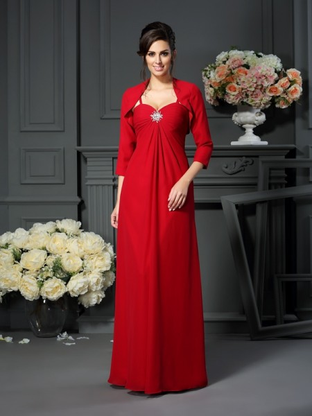 A-Line Spaghetti Straps Chiffon Beading Floor-Length Mother of the Bride Gown