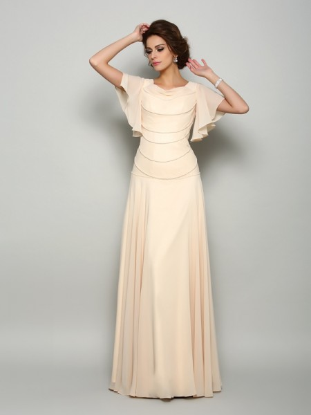 A-Line Short Sleeves Square Chiffon Floor-Length Beading Mother of the Bride Gown