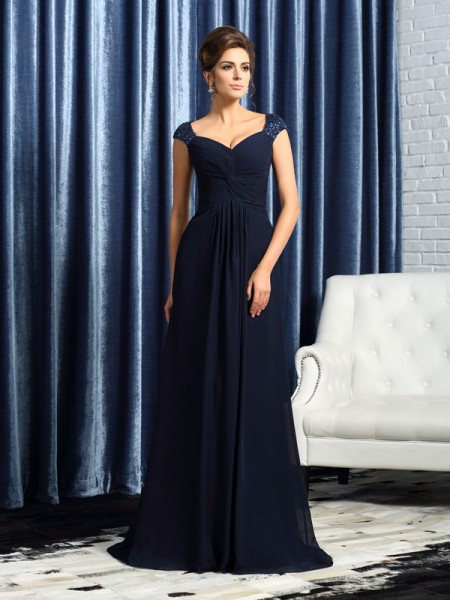 A-Line Straps Sweep/Brush Train Beading Applique Chiffon Mother of the Bride Gown