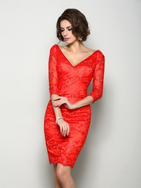 Sheath 1/2 Sleeves V-neck Knee-Length Lace Mother of the Groom Dress