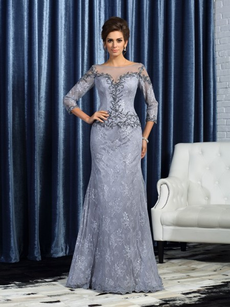 Mermaid Bateau 3/4 Sleeves Lace Beading Sweep/Brush Train Mother of the Groom Dress