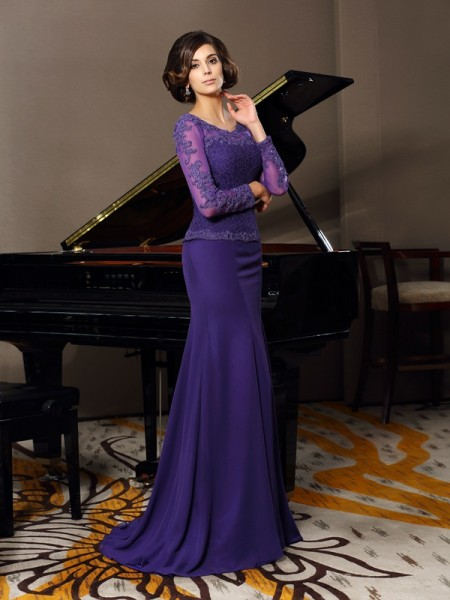 A-Line Scoop 3/4 Sleeves Chiffon Floor-Length Applique Mother of the Groom Dress