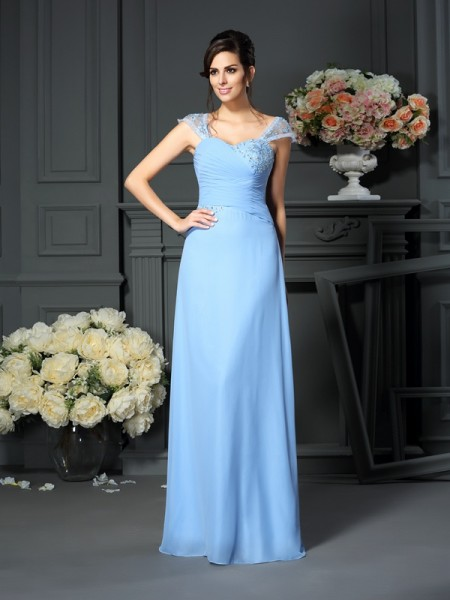 Sheath Straps Pleats Floor-Length Chiffon Mother of the Groom Dress