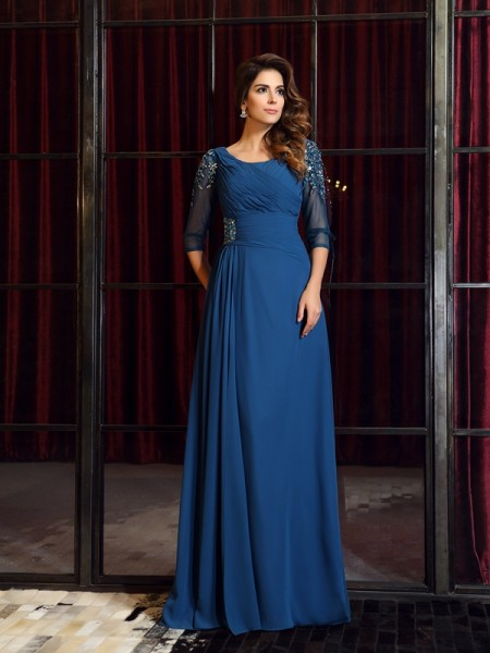 A-Line 1/2 Sleeves Square Chiffon Floor-Length Ruched Dresses