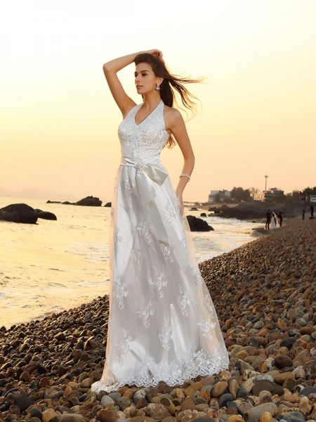 A-Line/Princess Halter Sash/Ribbon/Belt Sleeveless Chapel Train Lace Bridal Dress
