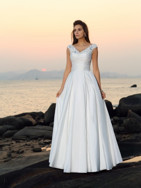 A-Line/Princess V-neck Beading Sleeveless Floor-Length Taffeta Bridal Dress