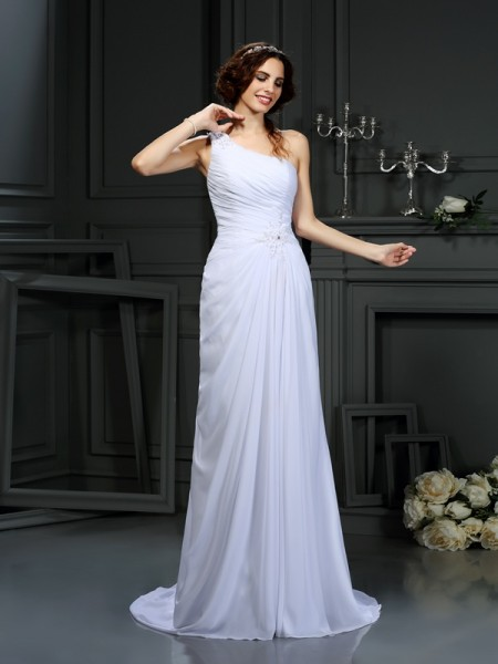 A-Line/Princess One-Shoulder Pleats Sleeveless Court Train Chiffon Bridal Dress