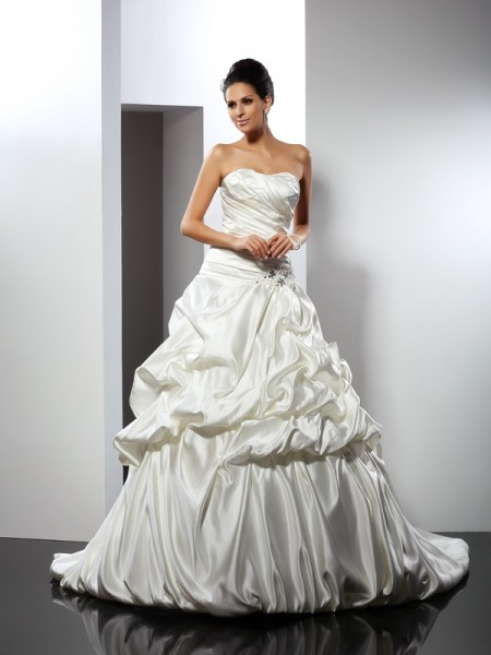 Ball Gown Sweetheart Sleeveless Cathedral Train Satin Bridal Dress