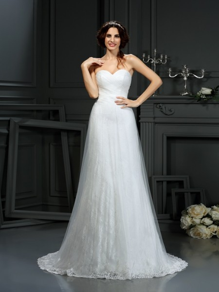 A-Line/Princess Sweetheart Pleats Sleeveless Court Train Net Bridal Dress
