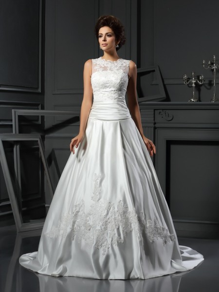 A-Line/Princess High Neck Applique Sleeveless Chapel Train Satin Bridal Dress