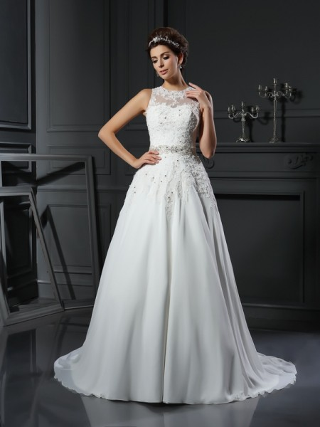 A-Line/Princess High Neck Beading Sleeveless Chapel Train Satin Bridal Dress