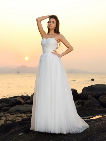 A-Line/Princess Sweetheart Sleeveless Sweep/Brush Train Net Bridal Dress