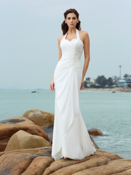 Sheath/Column Halter Pleats Sleeveless Court Train Chiffon Bridal Dress