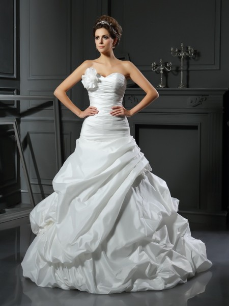 Ball Gown Sweetheart Hand-Made Flower Sleeveless Cathedral Train Satin Bridal Dress