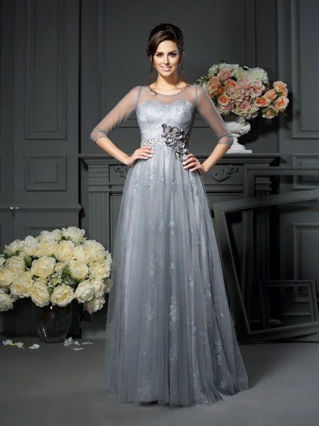 A-Line/Princess Scoop Lace 1/2 Sleeves Floor-Length Satin Mother of the Bride Dress
