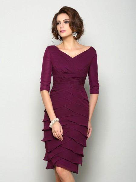 Sheath/Column V-neck 1/2 Sleeves Knee-Length Chiffon Mother of the Bride Dress
