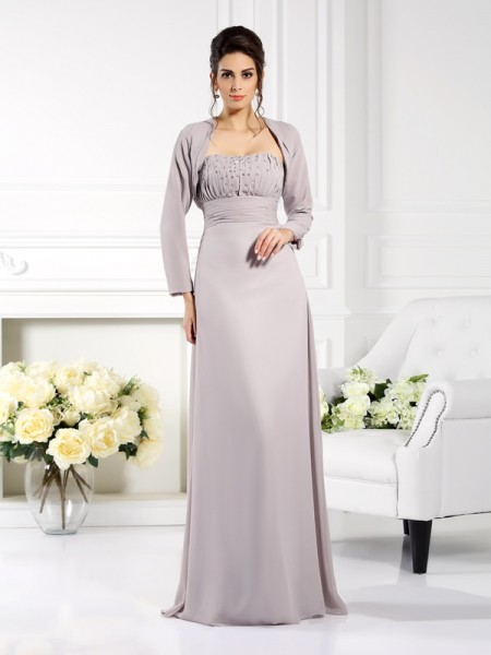 A-Line/Princess Strapless Beading Sleeveless Floor-Length Chiffon Mother of the Bride Dress
