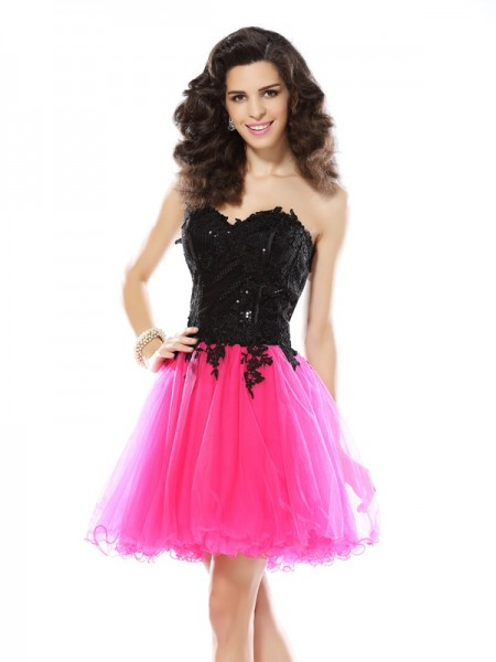 A-Line/Princess Sweetheart Lace Sleeveless Short/Mini Net Cocktail Dress