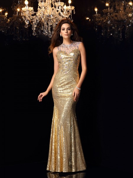 Trumpet/Mermaid High Neck Sleeveless Floor-Length Sequins Dress