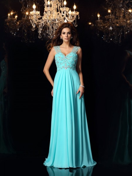 A-Line/Princess Sweetheart Beading Sleeveless Sweep/Brush Train Chiffon Dress