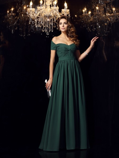 A-Line/Princess Off-the-Shoulder Ruched Sleeveless Floor-Length Chiffon Dress