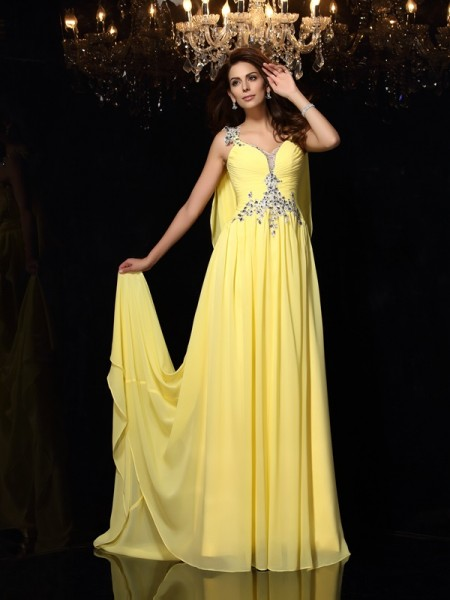 A-Line/Princess Straps Beading Sleeveless Court Train Chiffon Dress