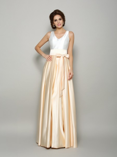 A-Line/Princess V-neck Bowknot Sleeveless Floor-Length Satin Mother of the Bride Dress